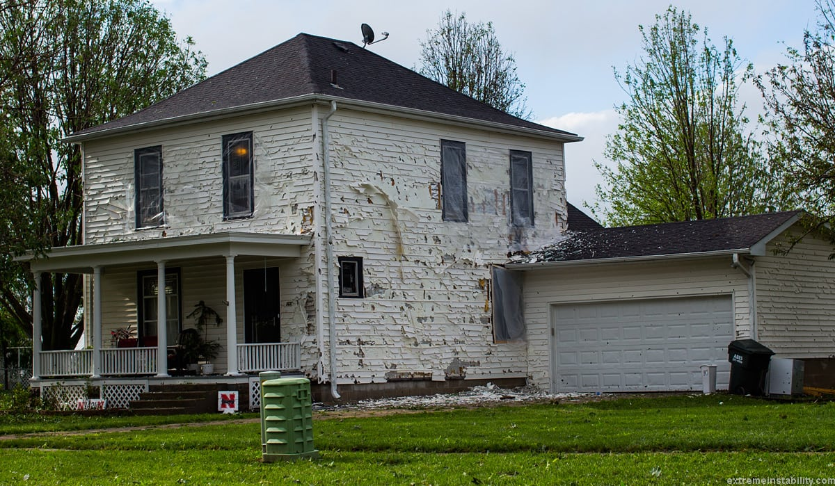 damaged house